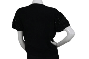 Joseph A. Black Sequin and Embroidered Short Sleeve Sweater Size XL SKU 000173