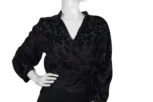 Raaga Long Sleeve Black and Dark Purple Velour Shirt with Side Tie Closure SKU 000173