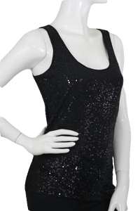 A.N.A. Tank Top 89 Black Sequin Size S SKU 000173