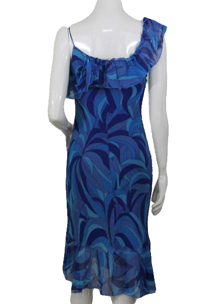Designers on a Dime Multi Colored Blue Sun Dress Size S SKU 000167