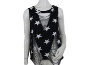 Soprano Black Tank Top with White Stars and Cut Out Design Size L SKU 000171