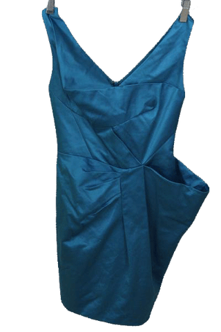 BCBG Maxazria Runway Teal  Above Knee Party Dress Size 0 (SKU 000172)