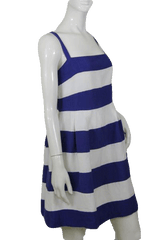 Loft Blue and White Stripped Dress with Straps Size 8  (SKU 000172)