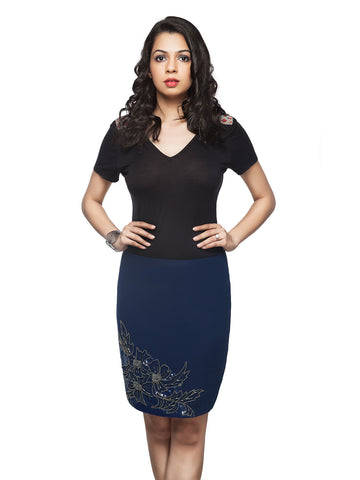 Felicia Blue Knee Length Embellished Skirt - ETHER  - 1