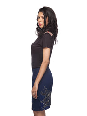 Felicia Blue Knee Length Embellished Skirt - ETHER  - 3
