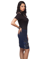 Felicia Blue Knee Length Embellished Skirt - ETHER  - 4