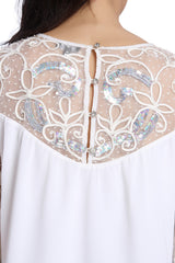 Snowflake Soutache Peasant Top - ETHER  - 5