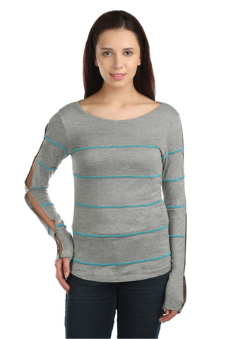 Aria Full Sleeves Turquoise Bead Top