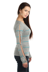 Aria Full Sleeves Turquoise Bead Top - ETHER  - 2