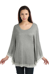 Eleanor Grey Poncho Tee - ETHER  - 1