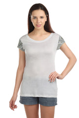 Ella Sleeve Embellished T-shirt - ETHER  - 1