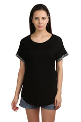 Brie Black Embellished T-shirt - ETHER  - 1