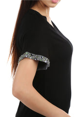 Brie Black Embellished T-shirt - ETHER  - 2