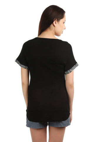 Brie Black Embellished T-shirt