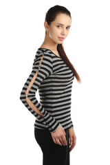 Joana Grey and Black T-shirt - ETHER  - 2