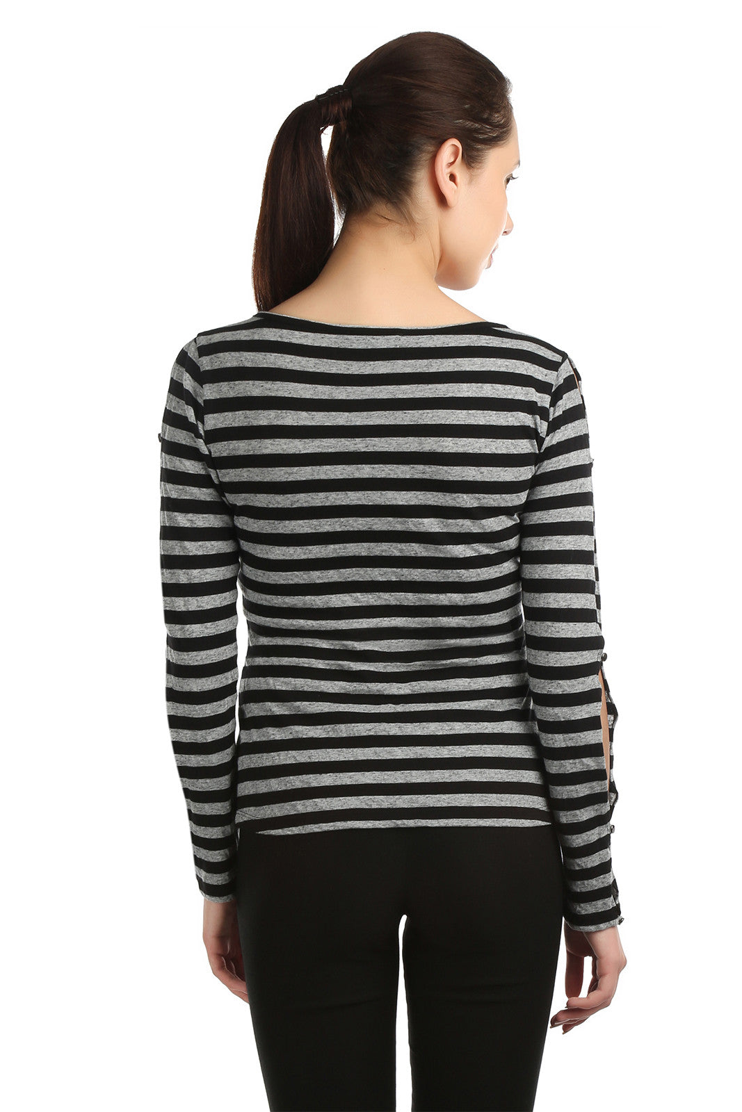 Joana Grey and Black T-shirt - ETHER  - 3