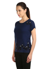 Lancet Blue Square Cut Tee - ETHER  - 2