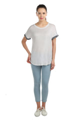 Moss Blue Cuff White Tee - ETHER  - 5