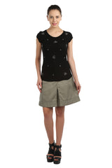 Iris Black Embellished Tee - ETHER  - 5