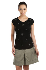 Iris Black Embellished Tee - ETHER  - 1