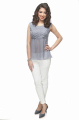 Melissa Yoke flare Top - ETHER  - 2