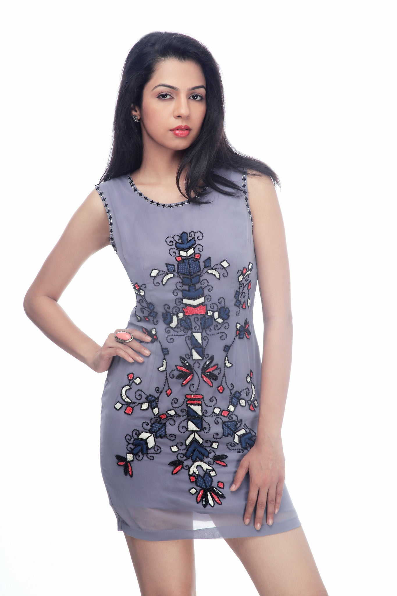 Bellona Shift Dress - ETHER  - 2