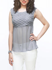 Melissa Yoke flare Top - ETHER  - 1