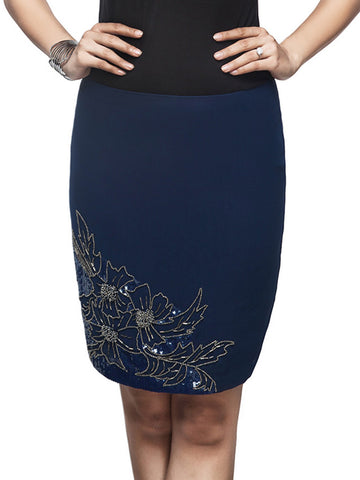 Felicia Blue Knee Length Embellished Skirt