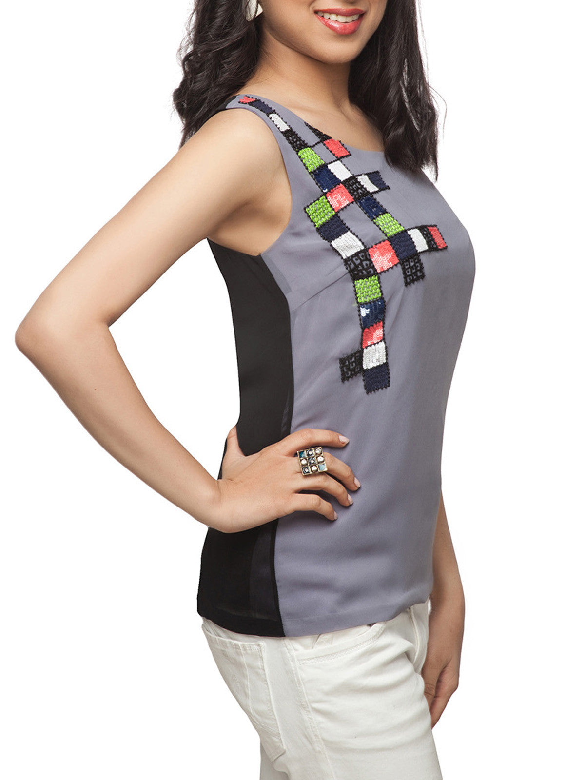 Kahina Chequered Tank Top - ETHER  - 1