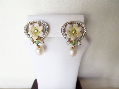 Masriera Enamel and Pearl Earrings