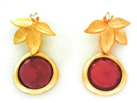 Marika Desert Gold - Flower Garnet Earrings