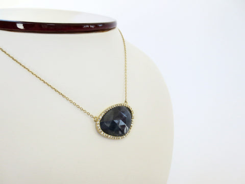 Blue Sapp Faceted Pendant