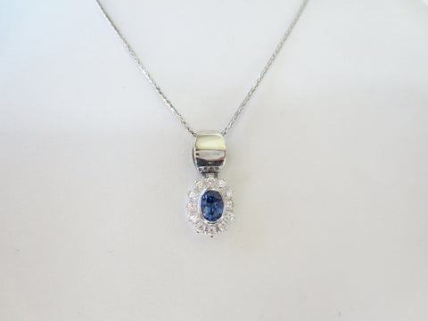 Diamond & Blue Sapp Oval Pendant