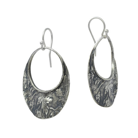 David Tishbe - Oval Falling Leaf Earrings