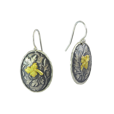 David Tishbe - Oval Falling Leaf Earring