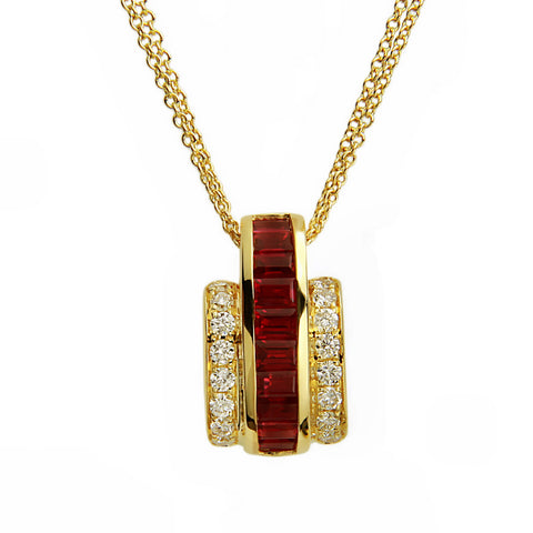 De Hago - Yellow Gold, Diamond & Ruby Pendant