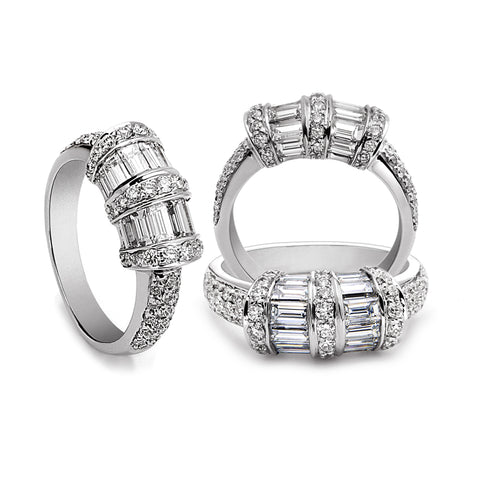 De Hago - White Gold Diamond & Baguette Ring