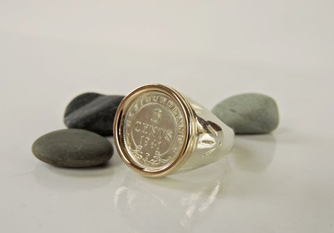 NL 5 Cent Ring- Gold Bezel