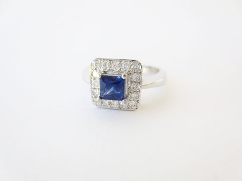 Square Blue Sapp & Diamond