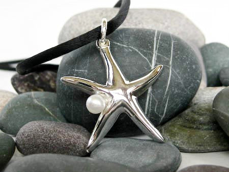 Sterling Starfish Pendant with Pearl