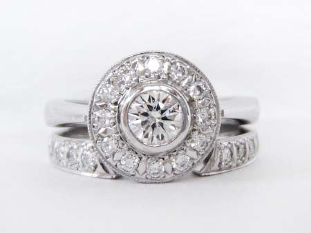 Private Collection- Wide Halo Diamond Ring