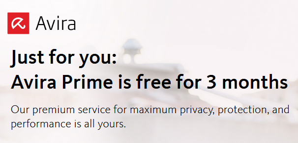 Avira Prime is free for 3 months 99promocode