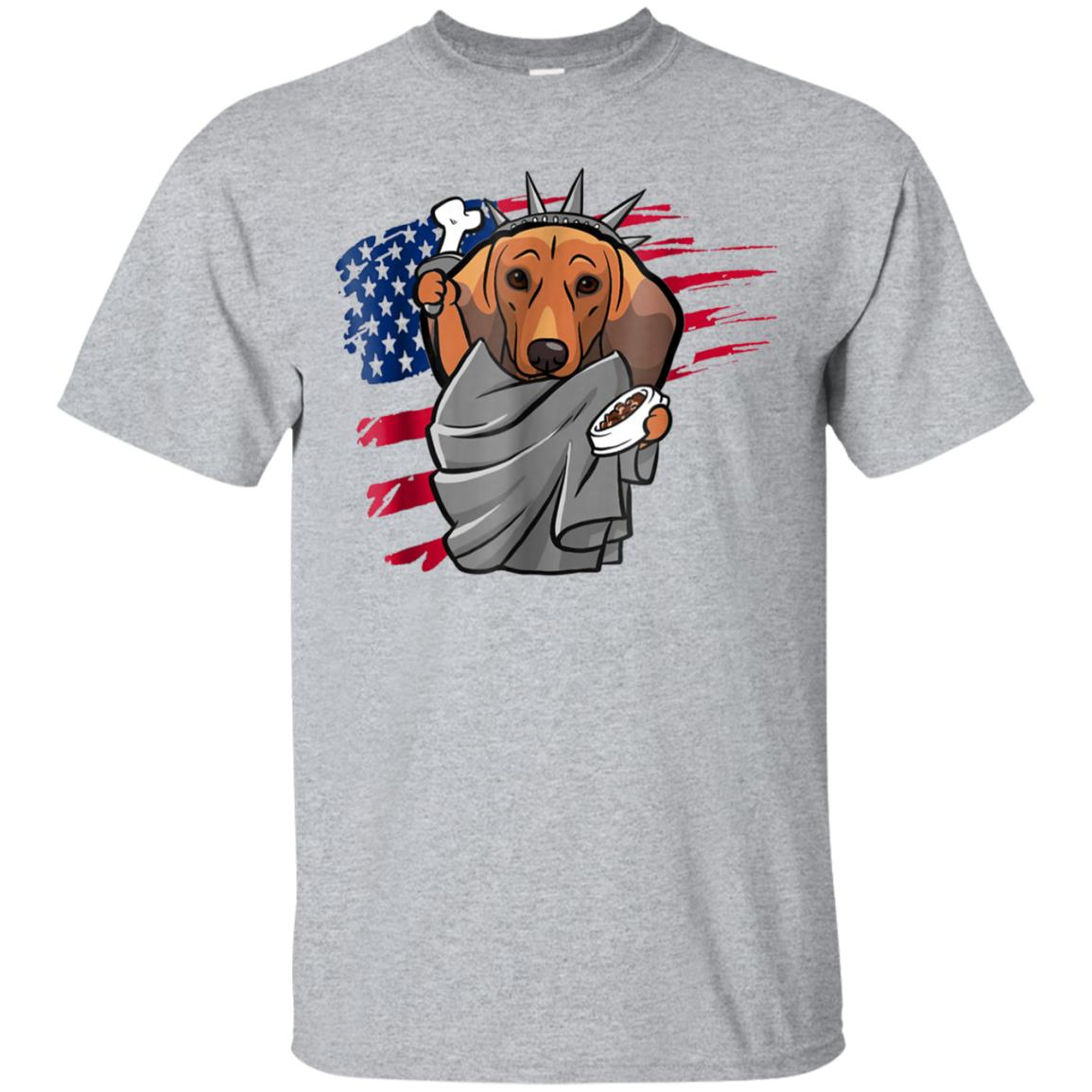 Dachshund American Flag 4th of July Pride Funny Gift T-shirt 99promocode