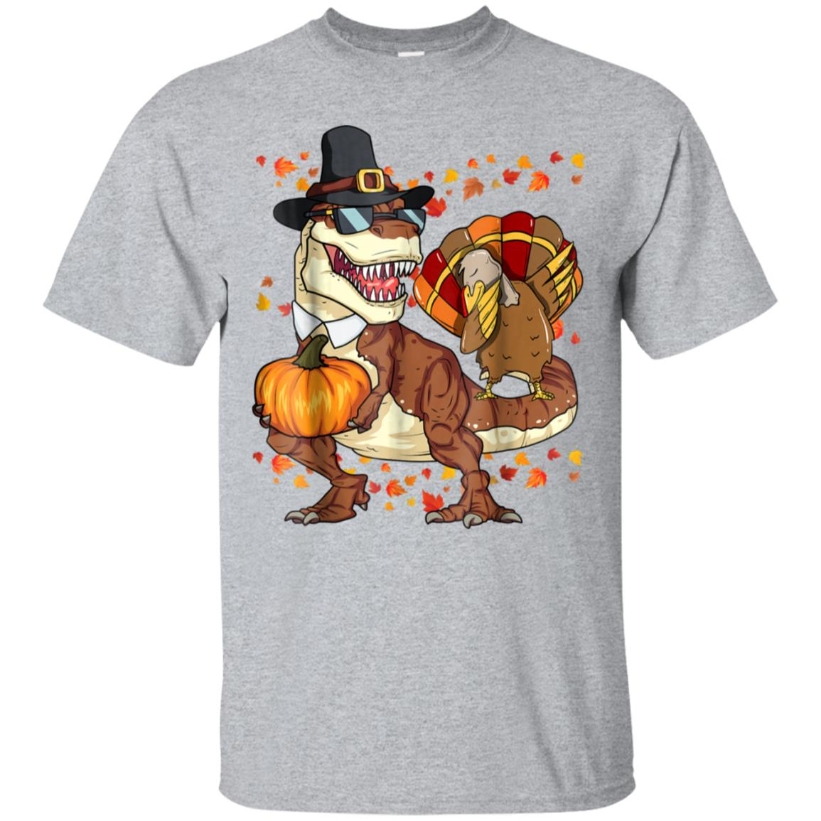 Thanksgiving T-Rex Dinosaur Shirt Dabbing Turkey Shirt Boy 99promocode