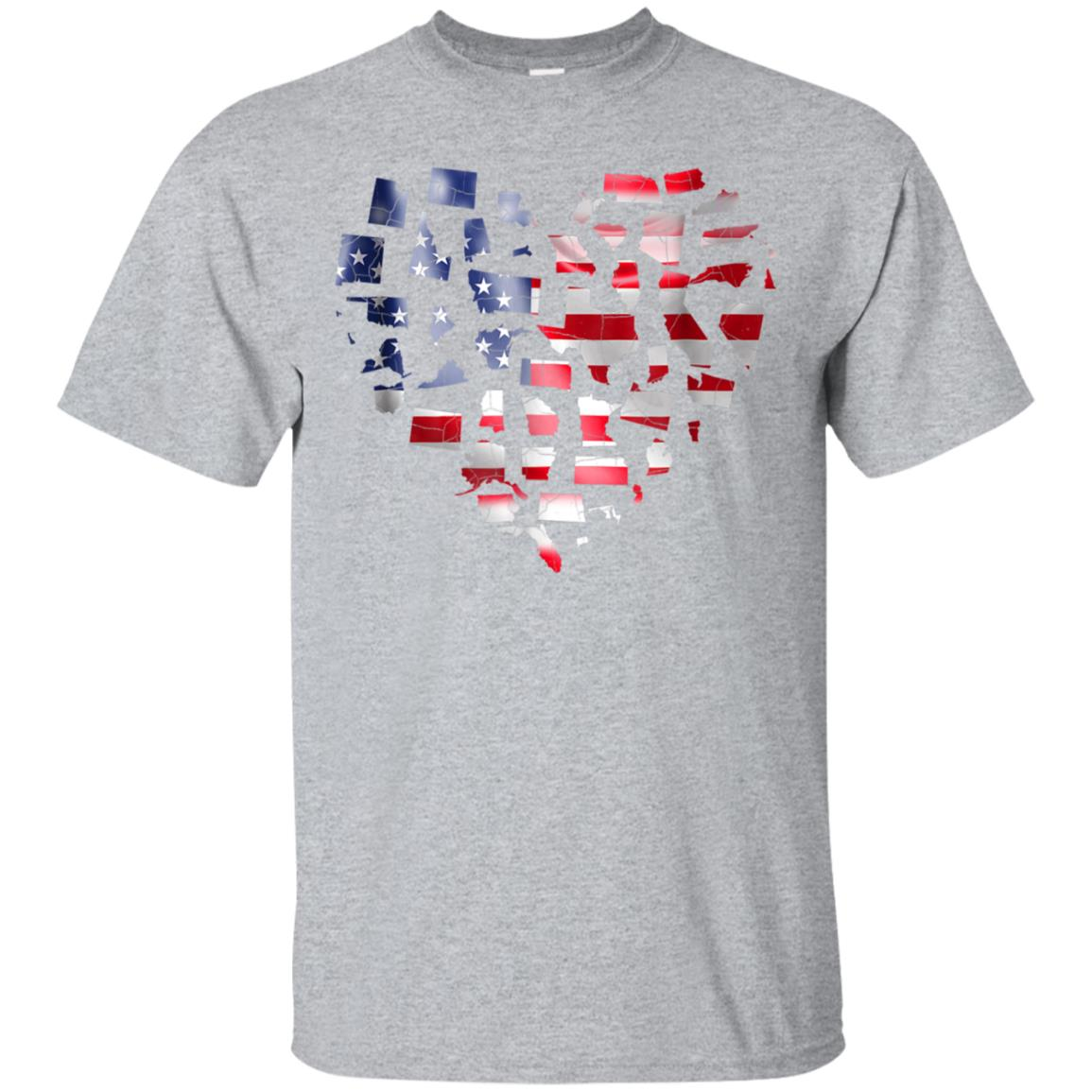 USA Heart Flag Shirt Patriotic Flag 4th of July Distressed 99promocode