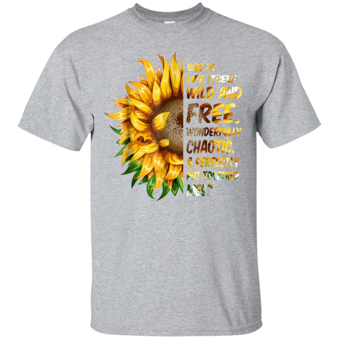 She Is Life Itself Wild And Free Sunflower T-Shirt for Women 99promocode