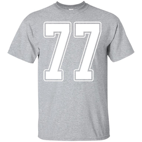 #77 White Outline Number 77 Sports Fan Jersey Style T-Shirt