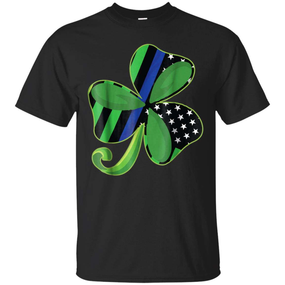 Thin Blue Line St Patrick's Day Clover Gift T-Shirt 99promocode