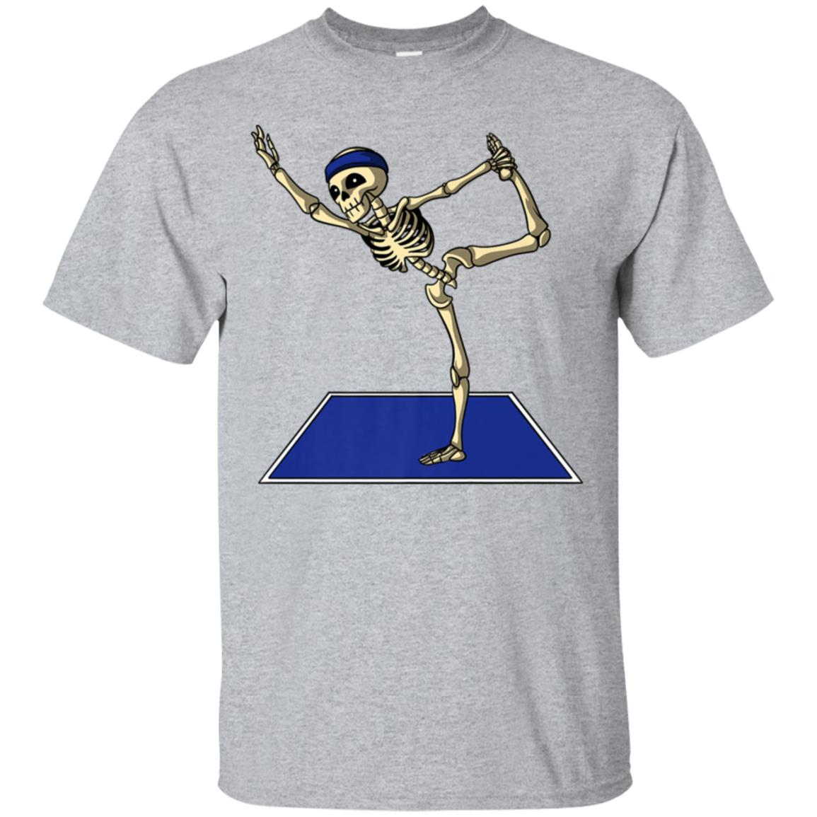 Creepy Skeleton Yoga Workout Poses Funny Halloween T-Shirt 99promocode