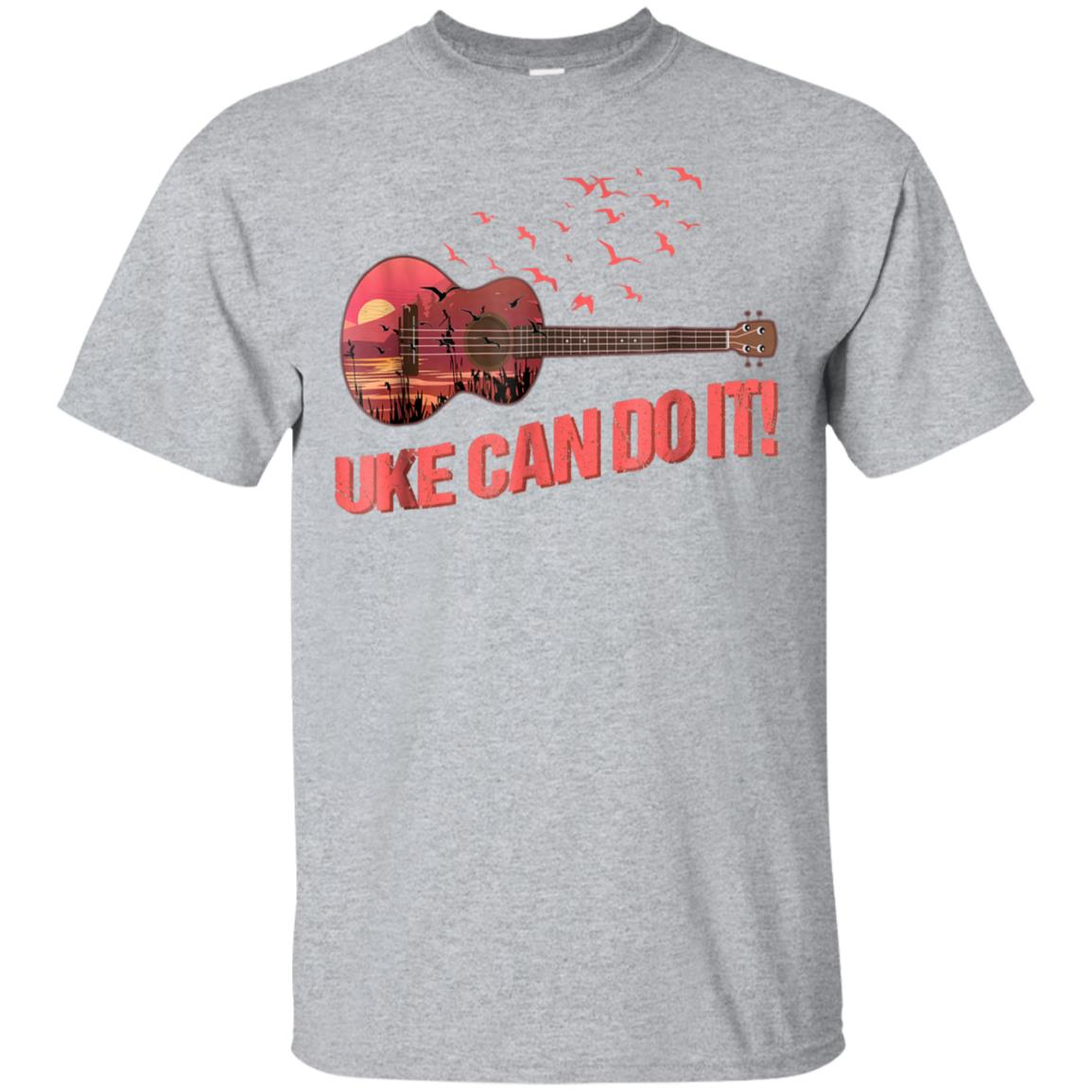 UKE TShirt Uke Can Do It Lake Sunset Birds Scenic Ukulele 99promocode